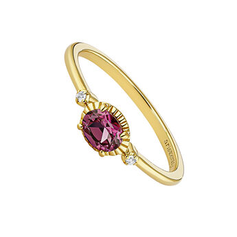 Gold plated rhodolite center ring, J04665-02-RO-WT, hi-res