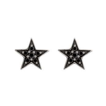 Silver star earrings with spinels, J01858-01-BSN, hi-res