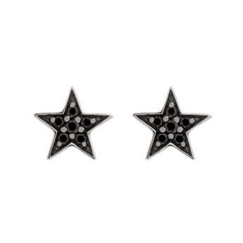 Silver star earrings spinels, J01858-01-BSN, hi-res