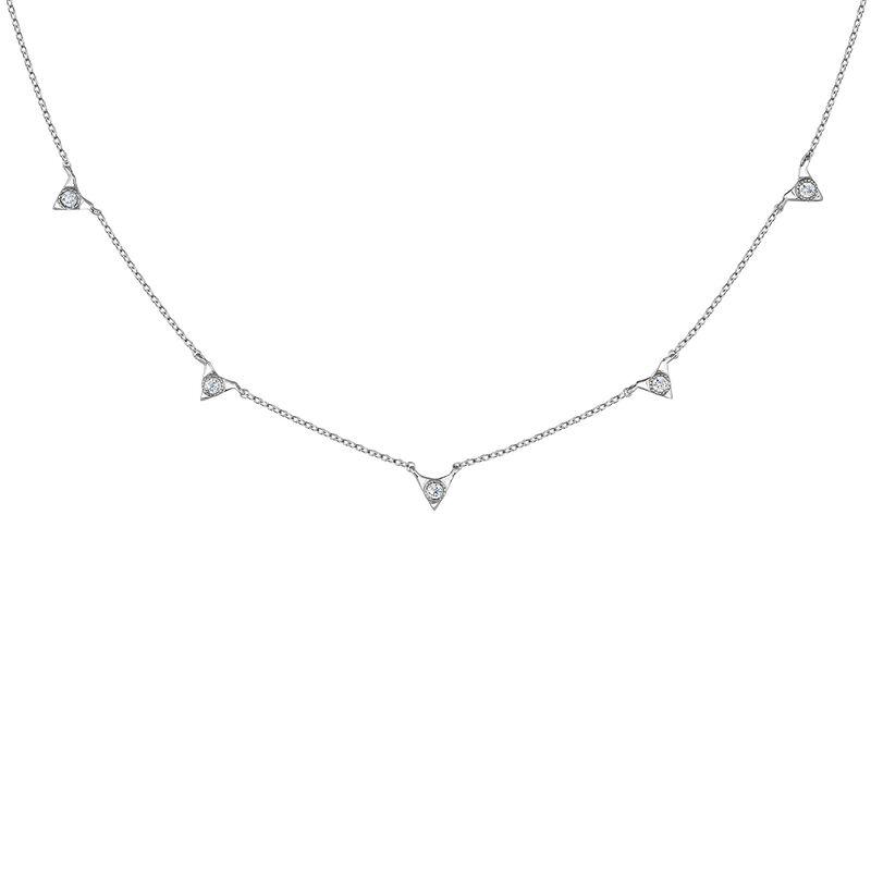Collier triangles diamant or blanc 0,0675 ct, J03922-01, hi-res