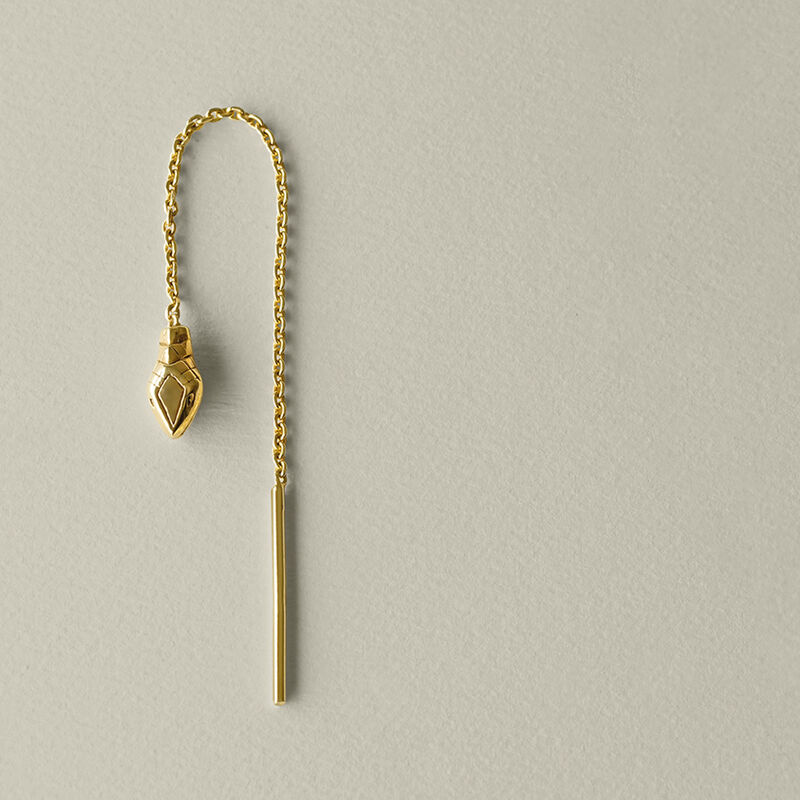 Gold-plated silver snake chain earring, J04854-02-H, hi-res