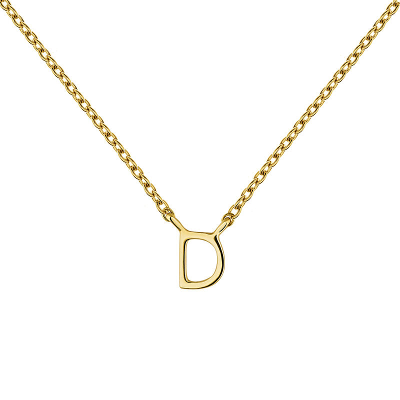 Gold Initial D necklace, J04382-02-D, hi-res