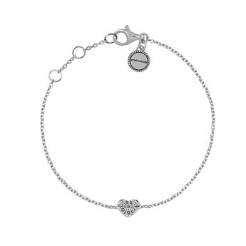 Bracelet cœur or blanc et diamants 0,05 ct, J01634-01, hi-res