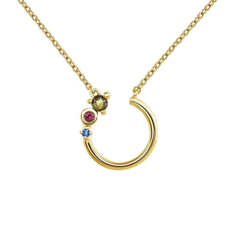 Gold plated tourmaline and sapphire necklace, J04150-02-GTPTBS, hi-res