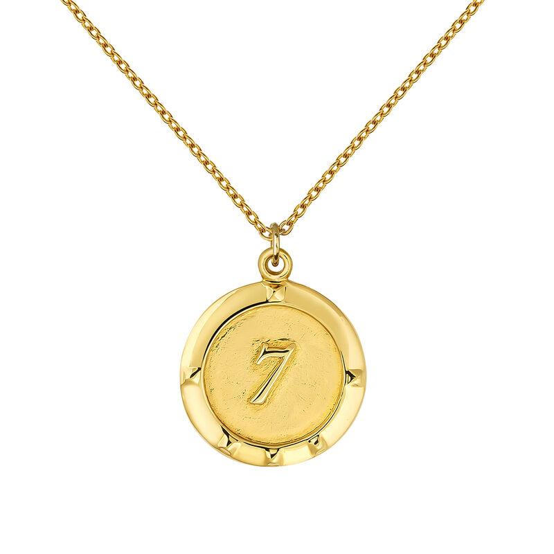 Colgante moneda número 7 oro, J03588-02-WT, hi-res