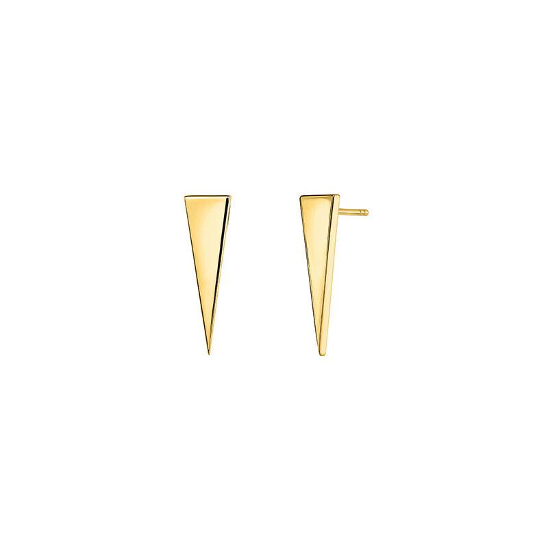 Boucles d'oreilles triangle argent plaqué or, J03963-02, hi-res