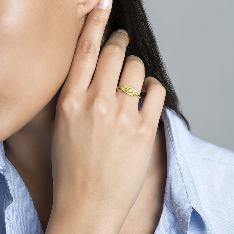 Oval gold plated ring with moonstone, J04134-02-WMS, hi-res