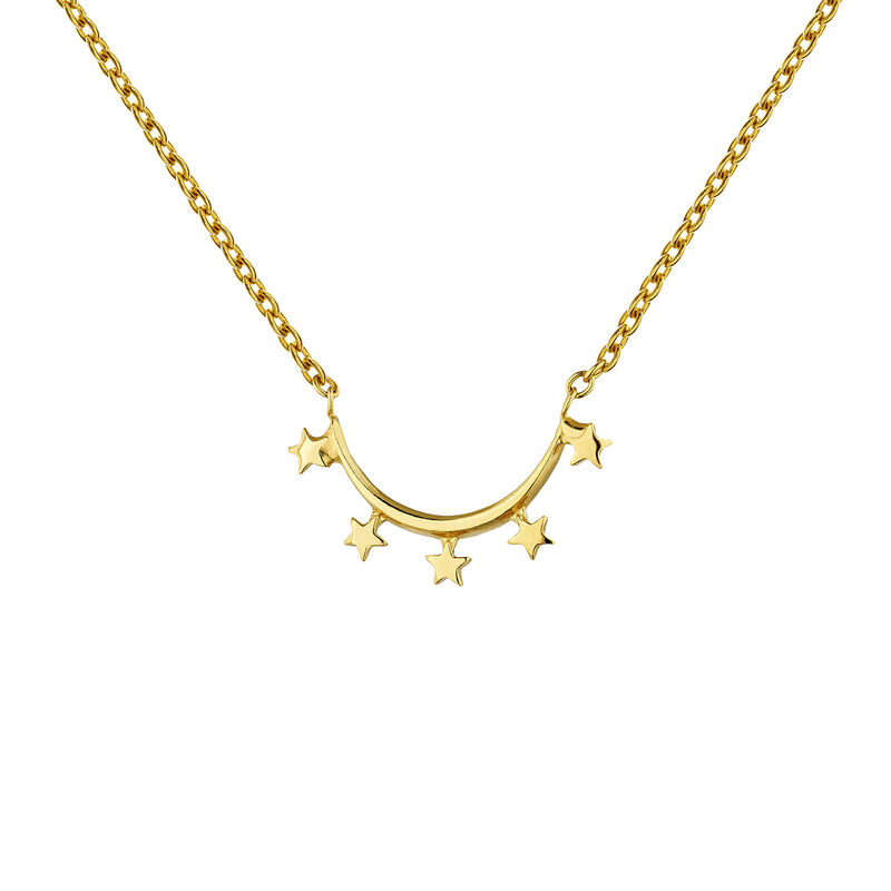 Gold-plated silver star arch necklace, J04860-02, hi-res