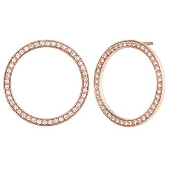 Rose gold circle topaz earrings, J04051-03-WT, hi-res