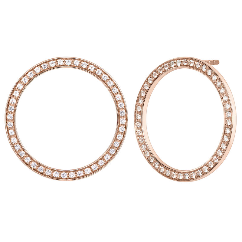 Rose gold circle topaz earrings, J04051-03-WT, hi-res