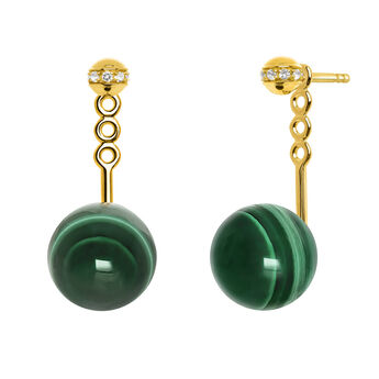 Gold Malachite Ear Jacket, J03509-02-WT-MA, hi-res