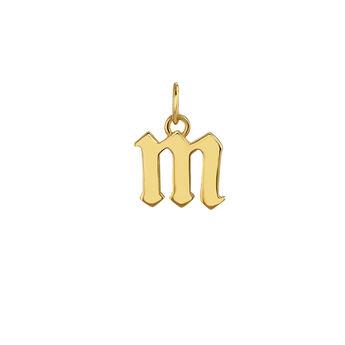 Pendentif lettre gothique M or, J04016-02-M, hi-res