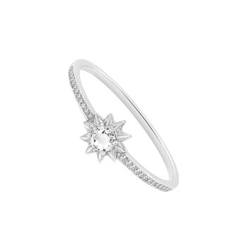 Anillo estrella mini topacio blanco plata, J03301-01-WT-SP, hi-res