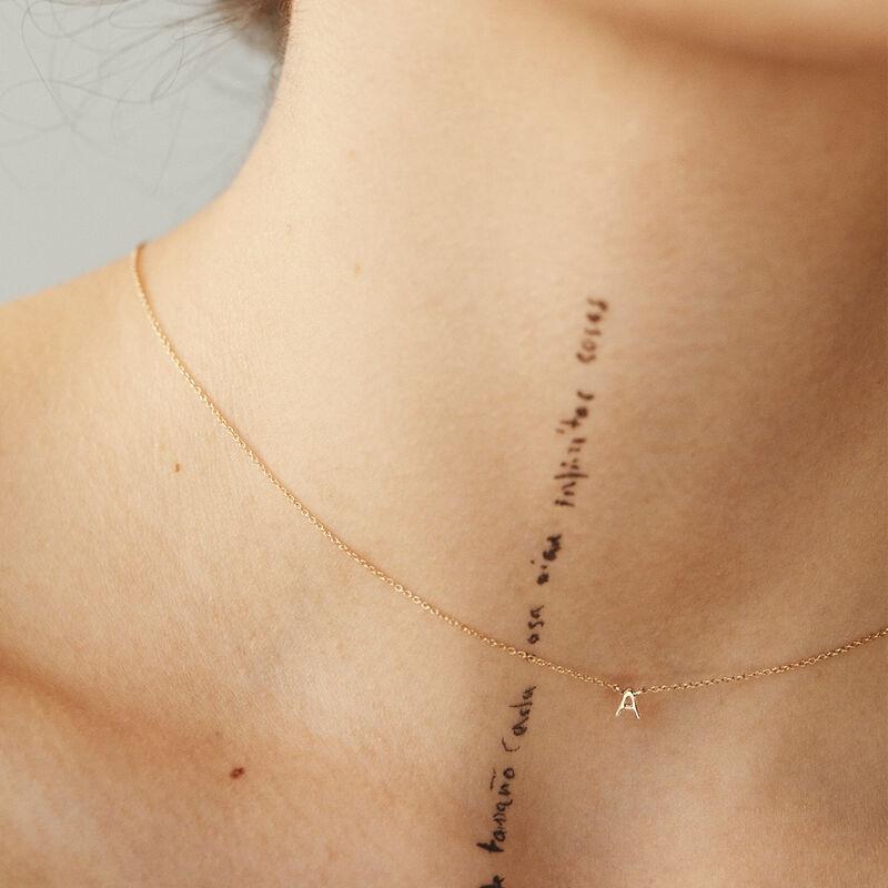 Gold Initial A necklace, J04382-02-A, hi-res
