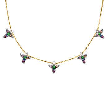 Collier en argent et or de 9cts avec motifs de saphires multicolors, J04315-10-MULTI, hi-res