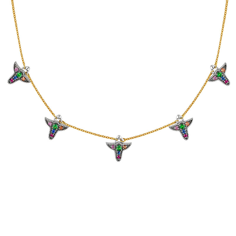 Silver and 9cts multicolor sapphire motif necklace