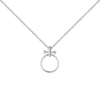 Large silver piercing bar hoop necklace, J04330-01, hi-res