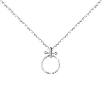 Collier grand cercle barre piercing argent, J04330-01, hi-res