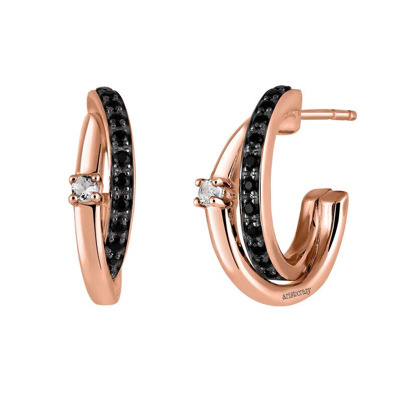 Small rose gold plated hoop earrings with gemstones, J03354-03-BSN-WT, hi-res