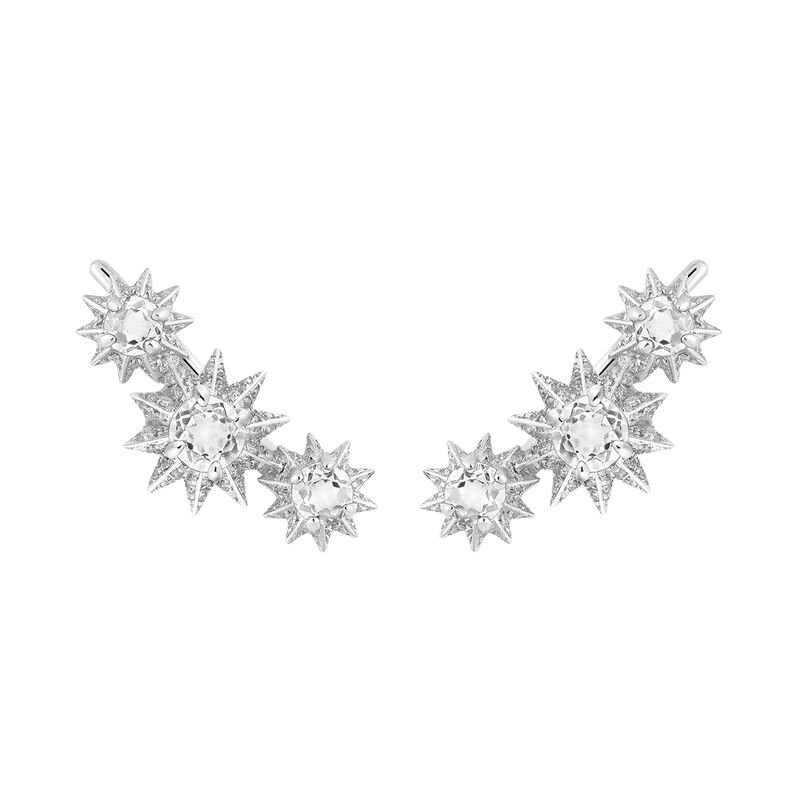Silver climber earrings with diamond and topaz, J03306-01-WT-SP, hi-res