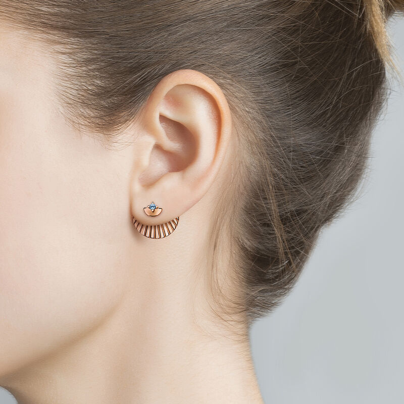 Rose gold plated topaz stud earrings, J03739-03-LB, hi-res
