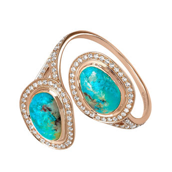 Pink gold plated chrysocolla you and me boho ring, J04112-03-CH-WT, hi-res