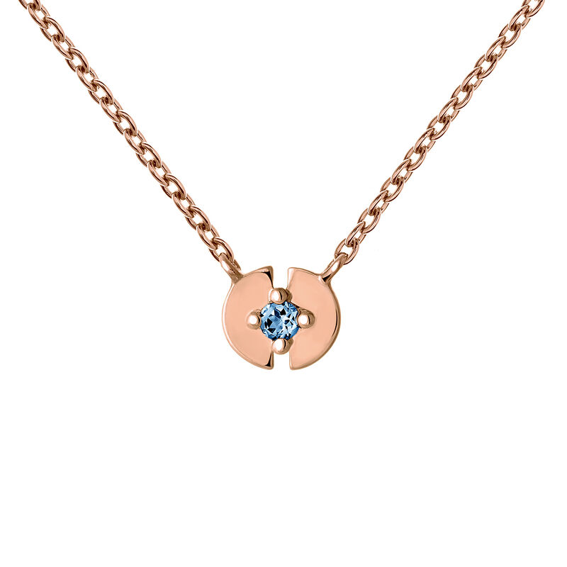 Rose gold plated topaz full circle necklace, J03746-03-LB, hi-res
