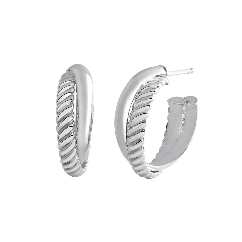 Silver smooth and cabled hoop earrings, J03095-01, hi-res