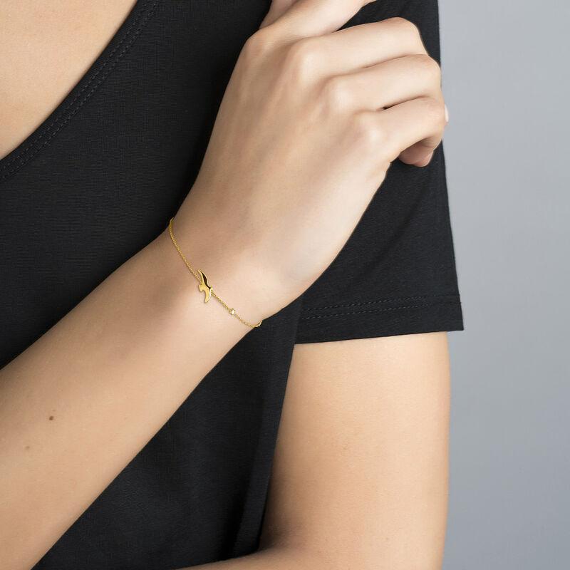 Gold plated bird and star motif bracelet, J04605-02, hi-res