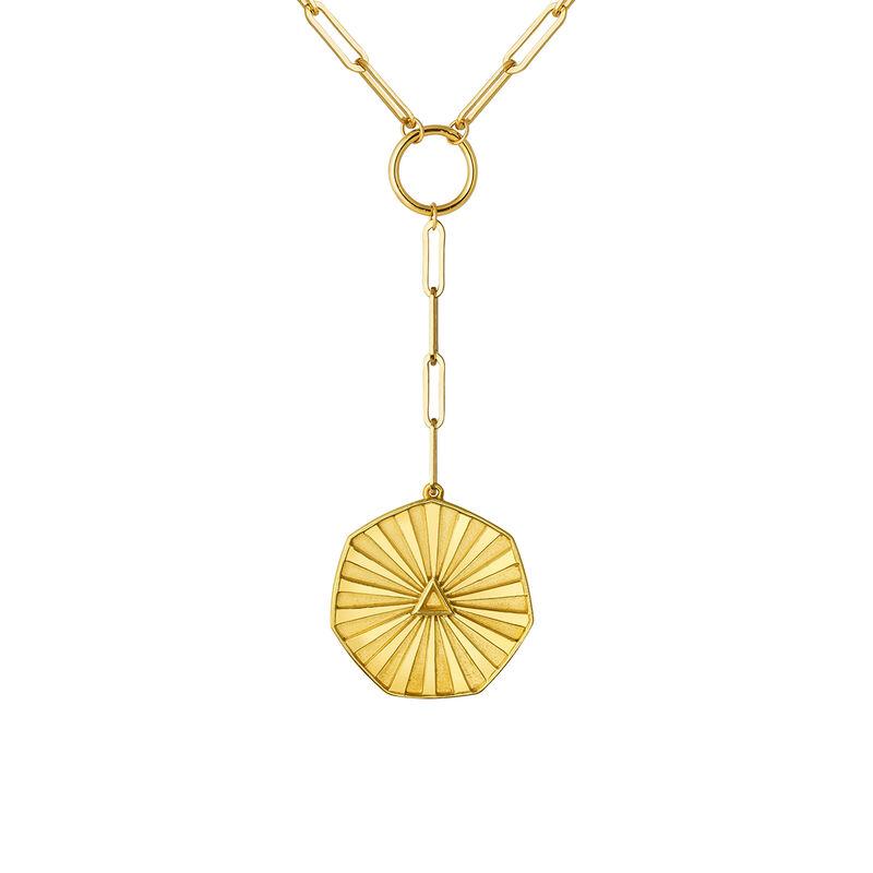 Gold hexagonal coin pendant, J03593-02, hi-res