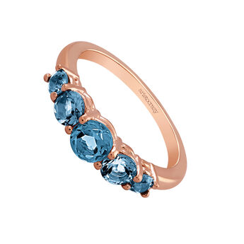 Medium rose gold plated topaz ring, J03164-03-LB, hi-res