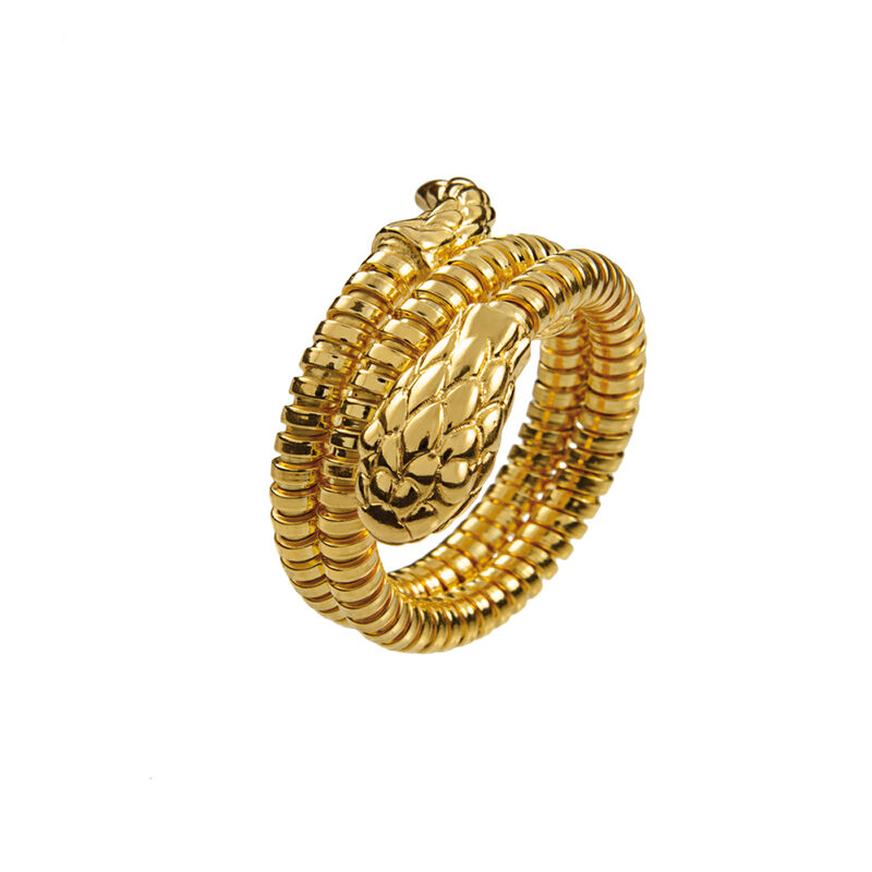 Gold tubogas snake ring, J00748-02, hi-res