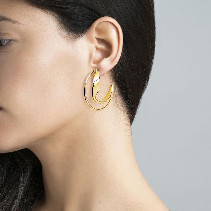 Large gold plated sculptural hoop earrings, J04218-02, hi-res