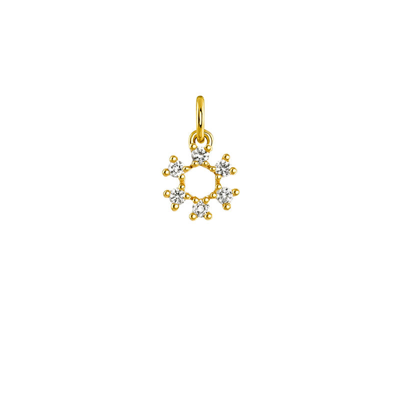 Colgante círculo de la suerte plata recubierta oro, J03822-02-WT, hi-res