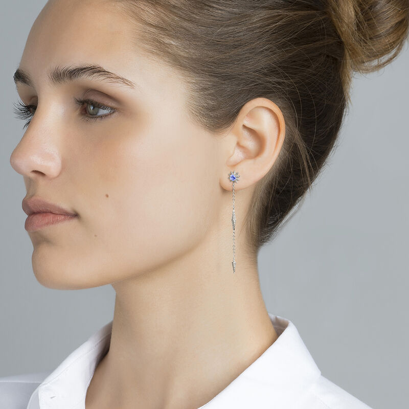 Silver star long earrings, J03721-01-GD-TA, hi-res