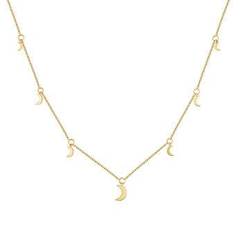 Gold moon motifs necklace, J04542-02, hi-res