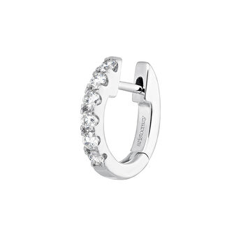 White gold border diamond hoop earring, J04095-01-16-H, hi-res