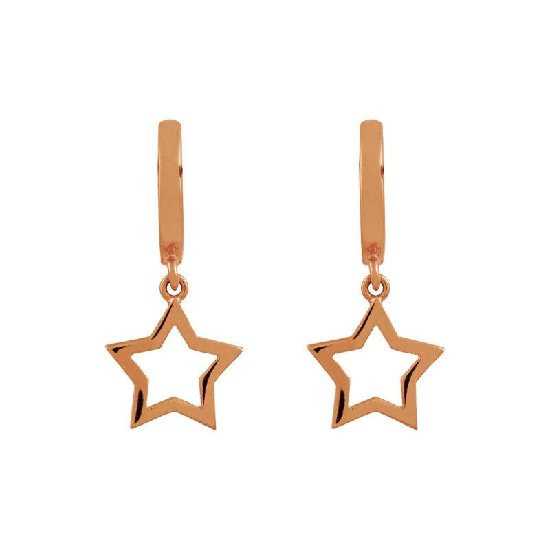Pendientes aro estrella oro rosa, J01905-03, hi-res