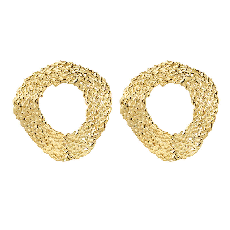 Large gold plated wicker circle earrings, J04417-02, hi-res