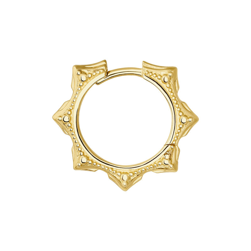 Gold geometric motifs hoop earring piercing, J04528-02-H, hi-res
