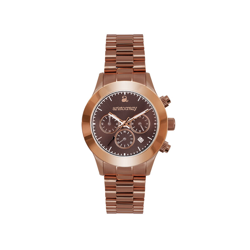 Soho watch chocolate gold bracelet brown face., W29A-PKPKBR-AXBR, hi-res
