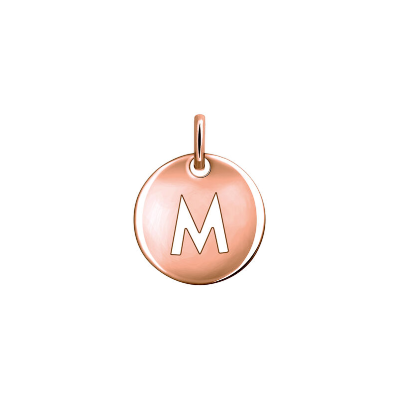 Rose gold plated initial M medal necklace, J03455-03-M, hi-res
