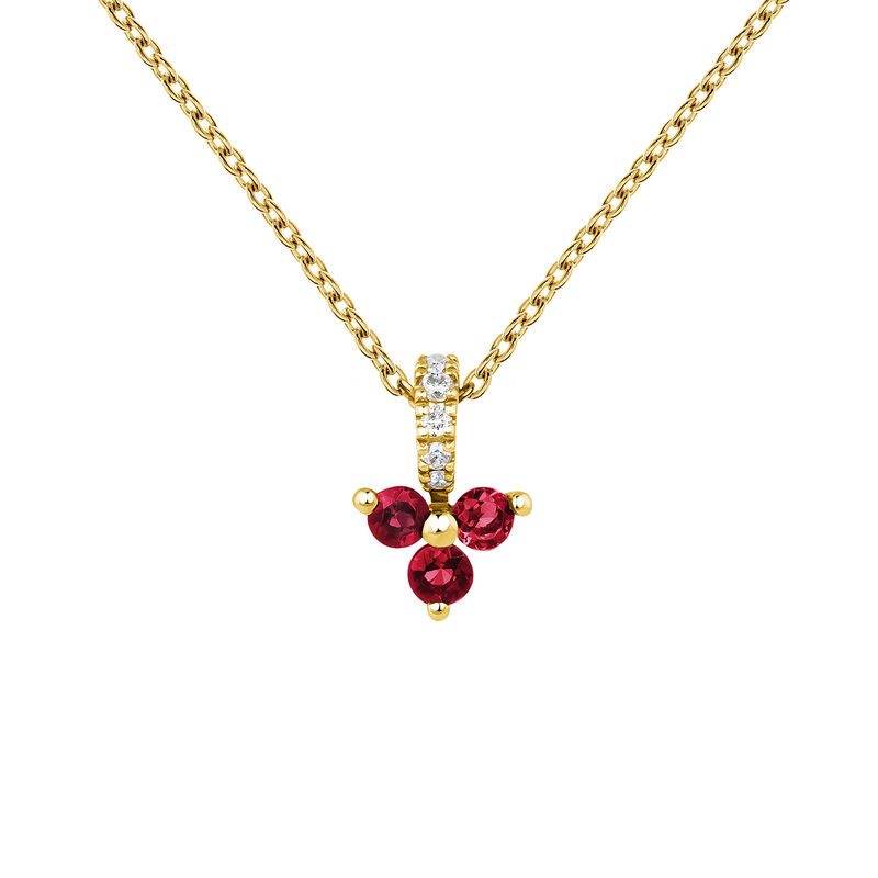 Colgante trébol rubí y diamante oro 9 kt, J04080-02-RU, hi-res