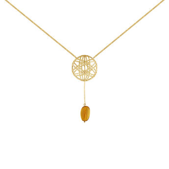 Gold plated amber pendant wicker necklace, J04421-02-AMB, hi-res