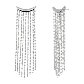 Silver half moon chain earrings, J03621-01, hi-res