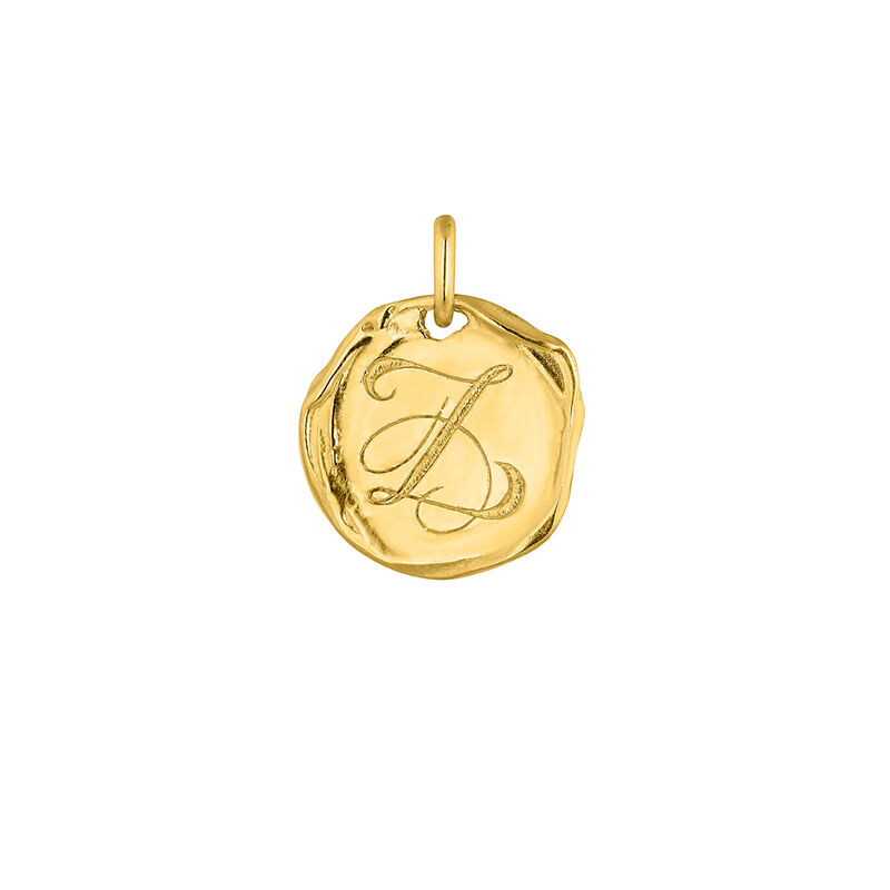 Colgante medalla inicial Z plata recubierta oro, J04641-02-Z, hi-res
