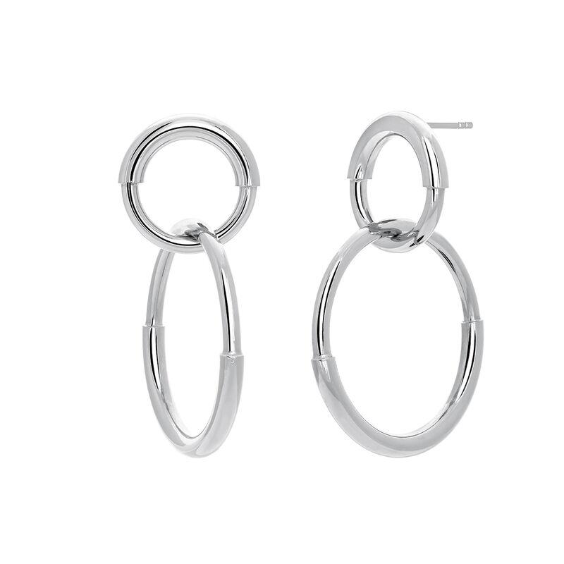 Silver double link hoop earrings, J03652-01, hi-res