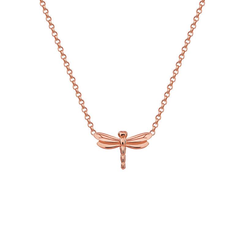 Rose gold dragonfly necklace, J03183-03, hi-res