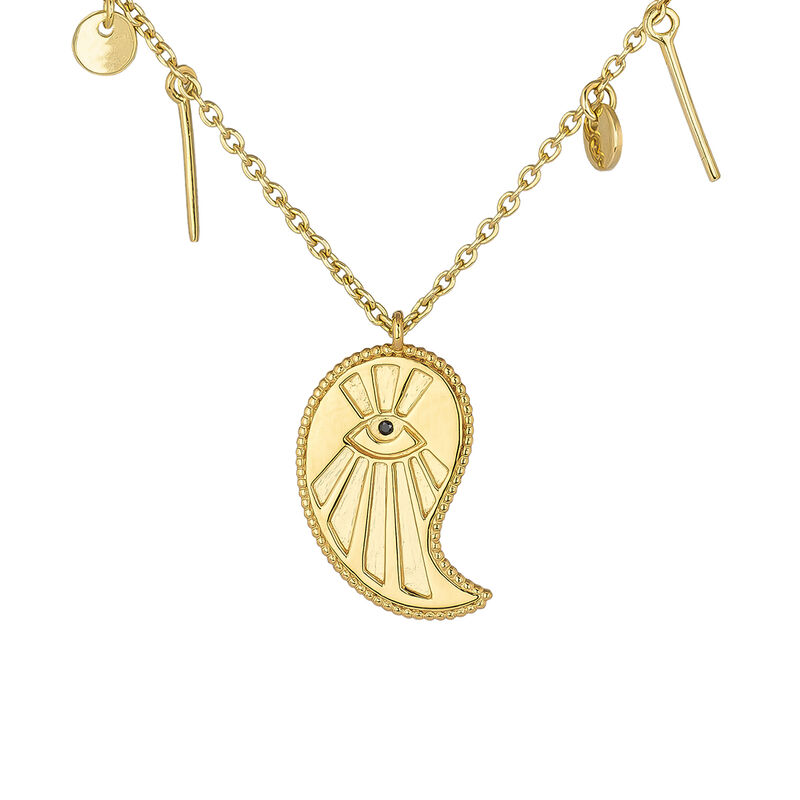 Gold plated cashmere pendants necklace , J04139-02-BSN, hi-res
