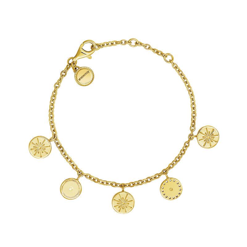 Bracelet ethnique motifs ronds mobiles argent plaqué or, J04447-02, hi-res